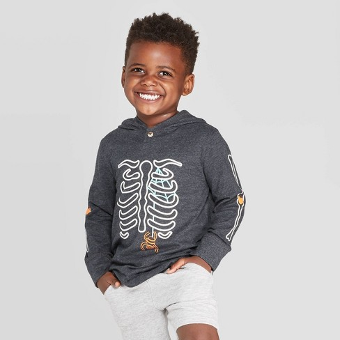 Toddler Boys' Skeleton T-Shirt Hoodie - Cat & Jack™ Black - image 1 of 3
