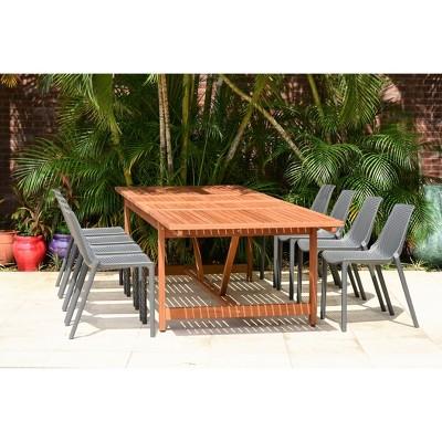 Elvis 9pc Rectangular Wood/Resin Double Leaf Extendable Patio Dining Set - Gray - Amazonia