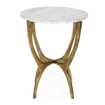 Lexie Boho Glam Handcrafted Marble Top Side Table White/Antique Brass - Christopher Knight Home