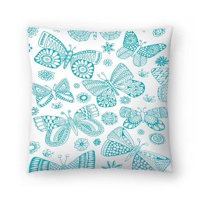 Americanflat Patterned Butterflies by Rebecca Prinn Throw Pillow