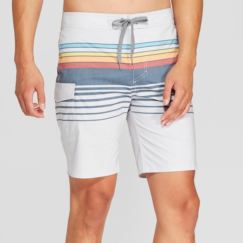 Men's Striped 8.5 Freddy Board Shorts - Goodfellow & Co Gray 34