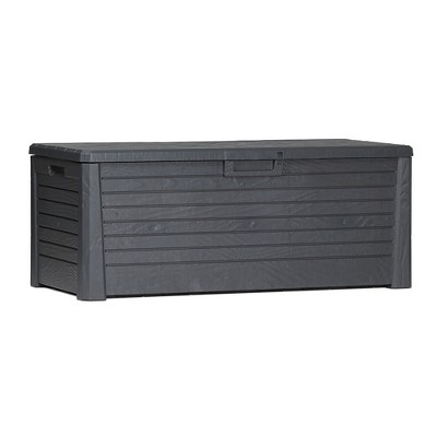 Toomax Florida UV Resistant Lockable Deck Storage Box Bench for Outdoor Pool Patio Garden Furniture & Indoor Toy Bin Container, 145 Gal (Anthracite)
