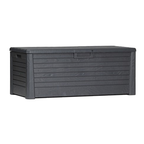 Toomax Florida UV Resistant Lockable Deck Storage Box Bench for Outdoor Pool Patio Garden Furniture & Indoor Toy Bin Container, 145 Gal (Anthracite) - image 1 of 4