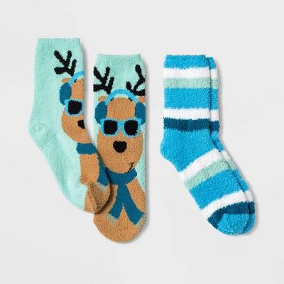 Kids' Holiday Reindeer 2pk Cozy Crew Socks with Gift Card Holder - Wondershop™ Blue