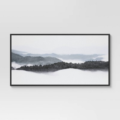 """47"""" x 24"""" Mountain Landscape Framed Wall Canvas Brown - Threshold™"""