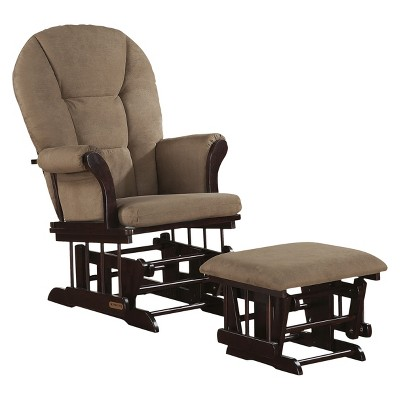 Shermag Alexis Glider Rocker and Ottoman Combo - Espresso with Peat Micro