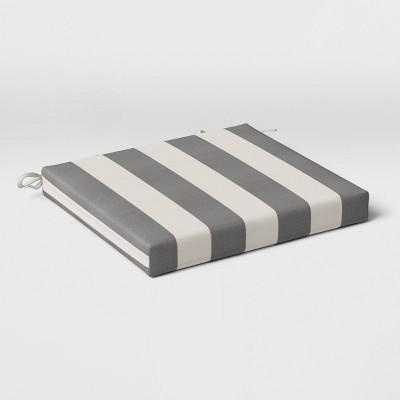 Cabana Stripe Outdoor Seat Cushion DuraSeason Fabric™ Black - Threshold™