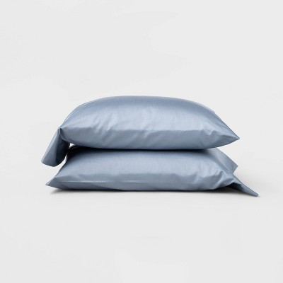 King 500 Thread Count Washed Supima Sateen Solid Pillowcase Set Deep Sky Blue - Casaluna™