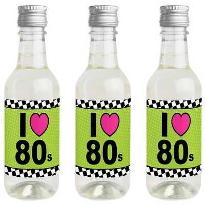 Big Dot of Happiness 80's Retro - Mini Wine and Champagne Bottle Label Stickers - Totally 1980s Party Favor Gift for Women and Men - Set of 16