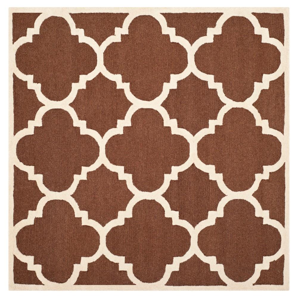 Landon Texture Wool Rug - Dark Brown / Ivory (6' X 6') - Safavieh, Dark Brown/Ivory