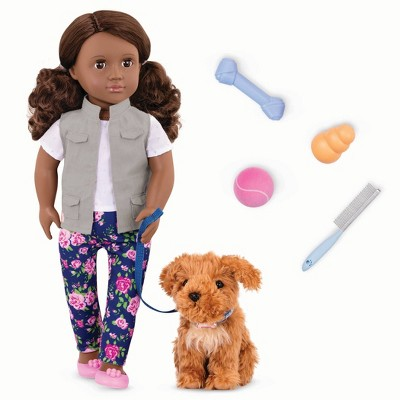 "Our Generation 18"" Doll & Pet Set - Malia with Plush Dog Poodle and Accessories"