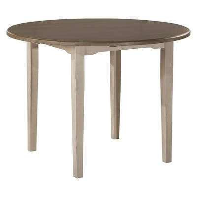 Clarion Round Drop Leaf Extendable Dining Table Distressed Gray/Sea White - Hillsdale Furniture