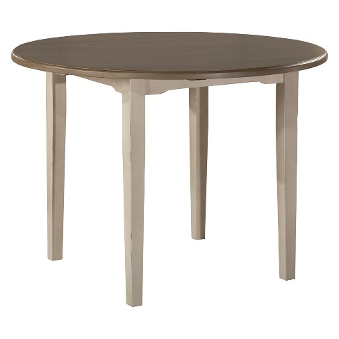 Clarion Round Drop Leaf Dining Table Distressed Gray Sea White