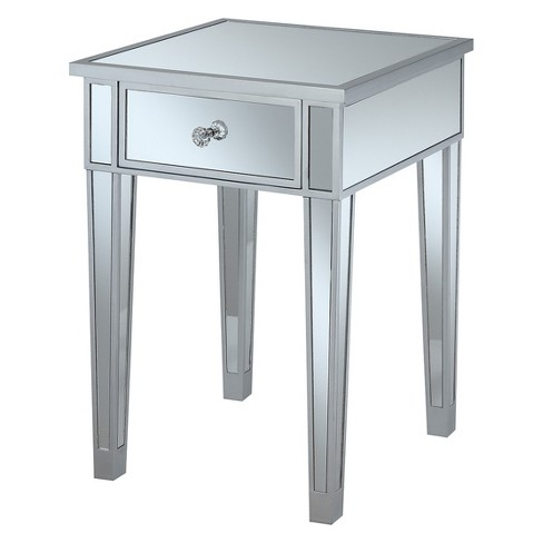 Johar Furniture Gold Coast Mirrored With Drawer End Table Oak Brown