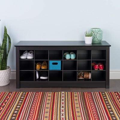 Shoe Storage Cubbie Bench Black - Prepac