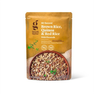 90 Second Brown Rice, Quinoa & Red Rice with Flaxseeds Microwavable Pouch - 8.5oz - Good & Gather™