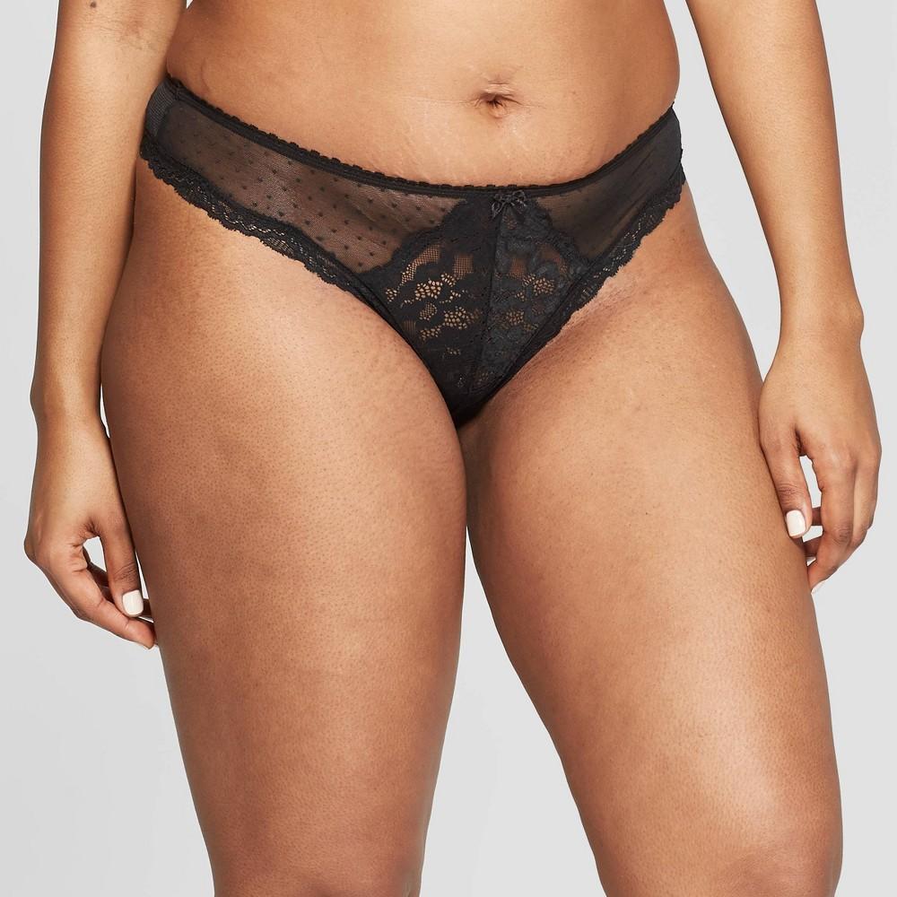 Women's Lace & Dot Mesh Thong - Auden Black M