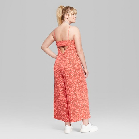 bb4397193e88 Women s Floral Print Plus Size Strappy Square Neck Jumpsuit - Wild Fable™  Red   Target