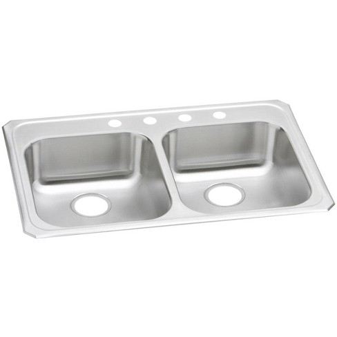 "Elkay GECR3321 Gourmet 33"" Double Basin 20-Gauge Stainless Steel Kitchen Sink for Drop In Installations - image 1 of 4"