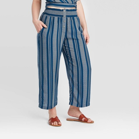 Women's Striped Button Cropped Pants - Xhilaration™ Navy - image 1 of 2