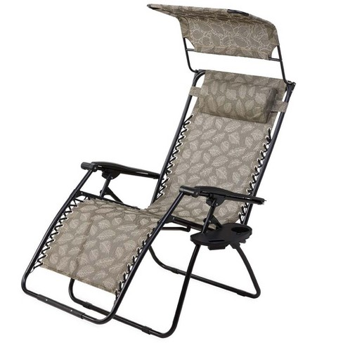 Peachy Deluxe Zero Gravity Chair With Canopy Table Drink Holder Plow Hearth Alphanode Cool Chair Designs And Ideas Alphanodeonline