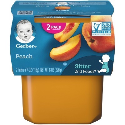 Gerber Sitter 2nd Foods Peach Baby Meals Tubs - 2ct/4oz Each