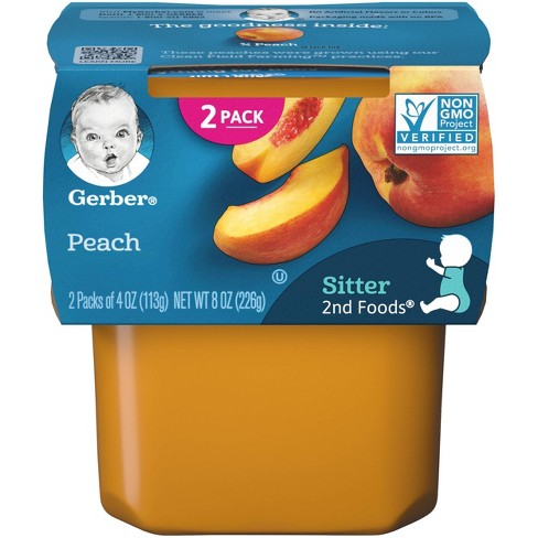 Gerber Sitter 2nd Foods Peach Baby Meals Tubs - 2ct/4oz Each - image 1 of 4