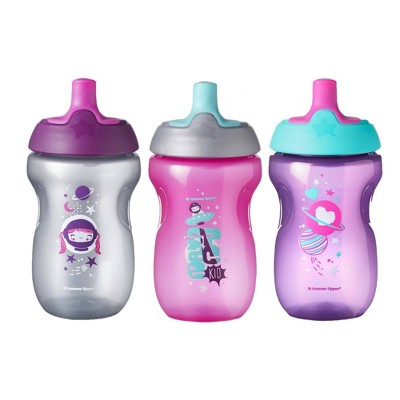 Tommee Tippee Sippy Toddler Sportee Bottle Girl - 3pk/30oz Total 12+M Pink