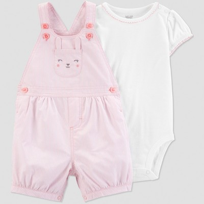 Baby Girls' 2pc Bunny Shortall Set - Just One You® made by carter's Pink/White 9M
