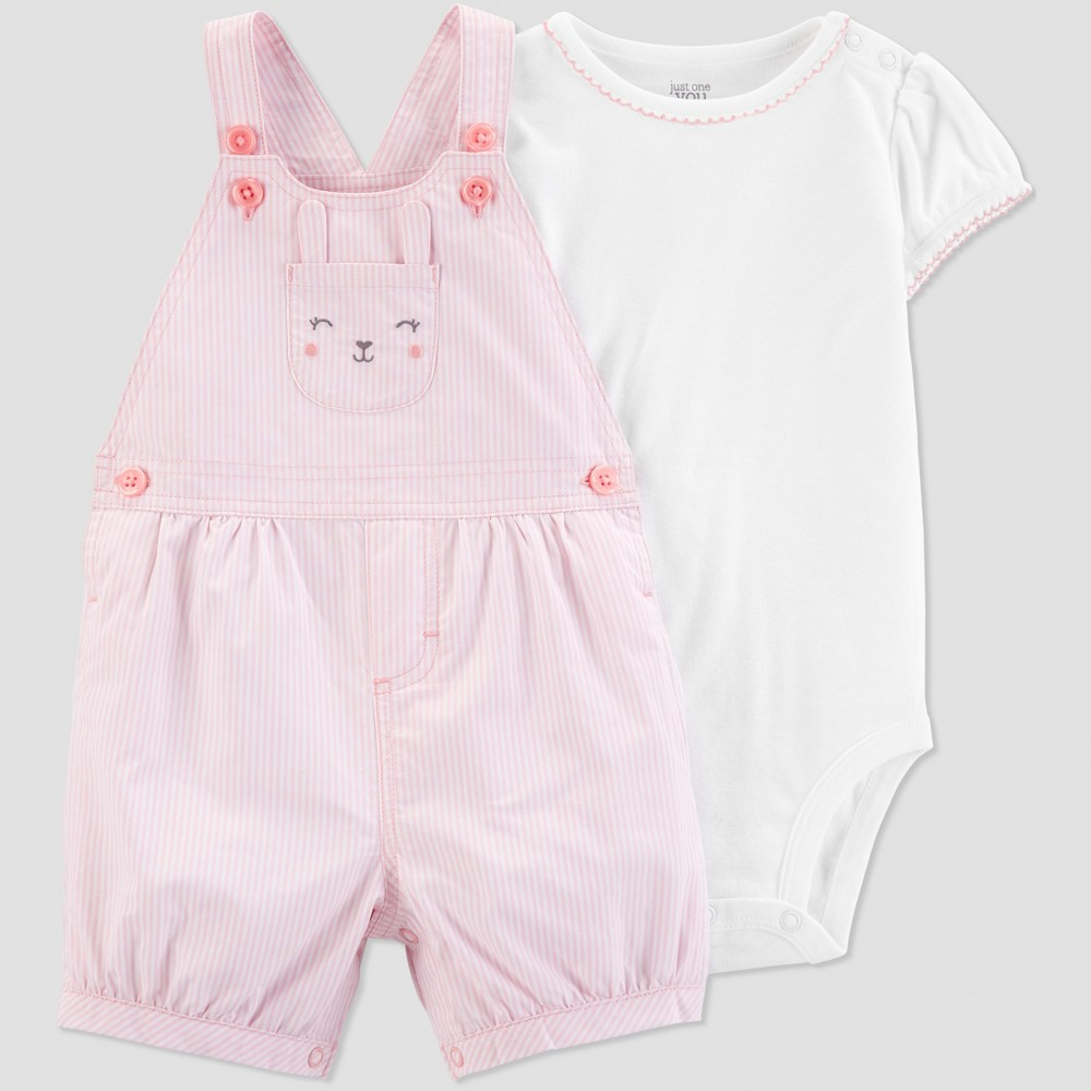 Baby Girls' 2pc Bunny Shortall Set - Just One You made by carter's Pink/White 24M