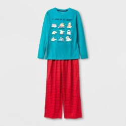 Boys' Critter Pajama Set - Cat & Jack™ Teal/Red XS