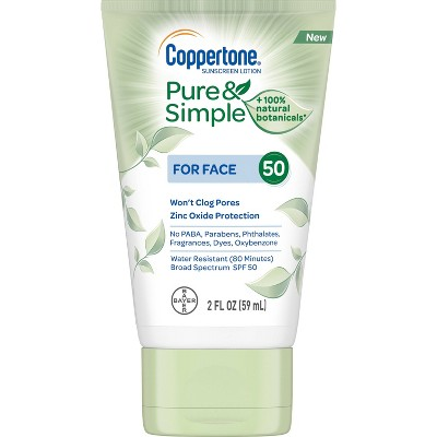 Coppertone Pure and Simple Botanicals Faces Sunscreen Lotion- SPF 50 - 2oz