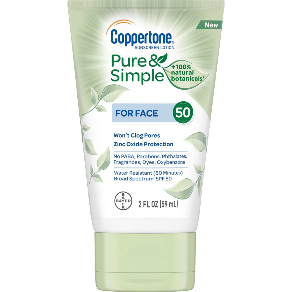 Image of Coppertone Pure and Simple Botanicals Faces Sunscreen Lotion- SPF 50 - 2oz