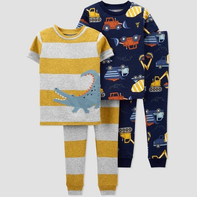 Toddler Boys' 4pc Alligator/Construction Pajama Set - Just One You® made by carter's Gray/Gold/Navy
