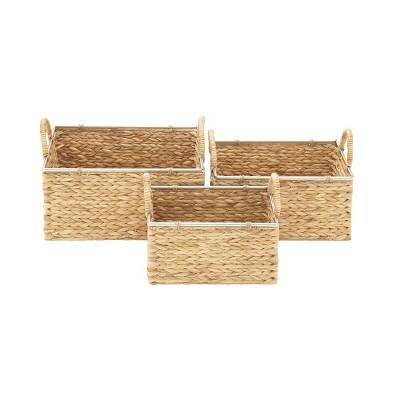 Olivia & May Set of 3 Medium Rectangular Natural Seagrass Baskets with Handles