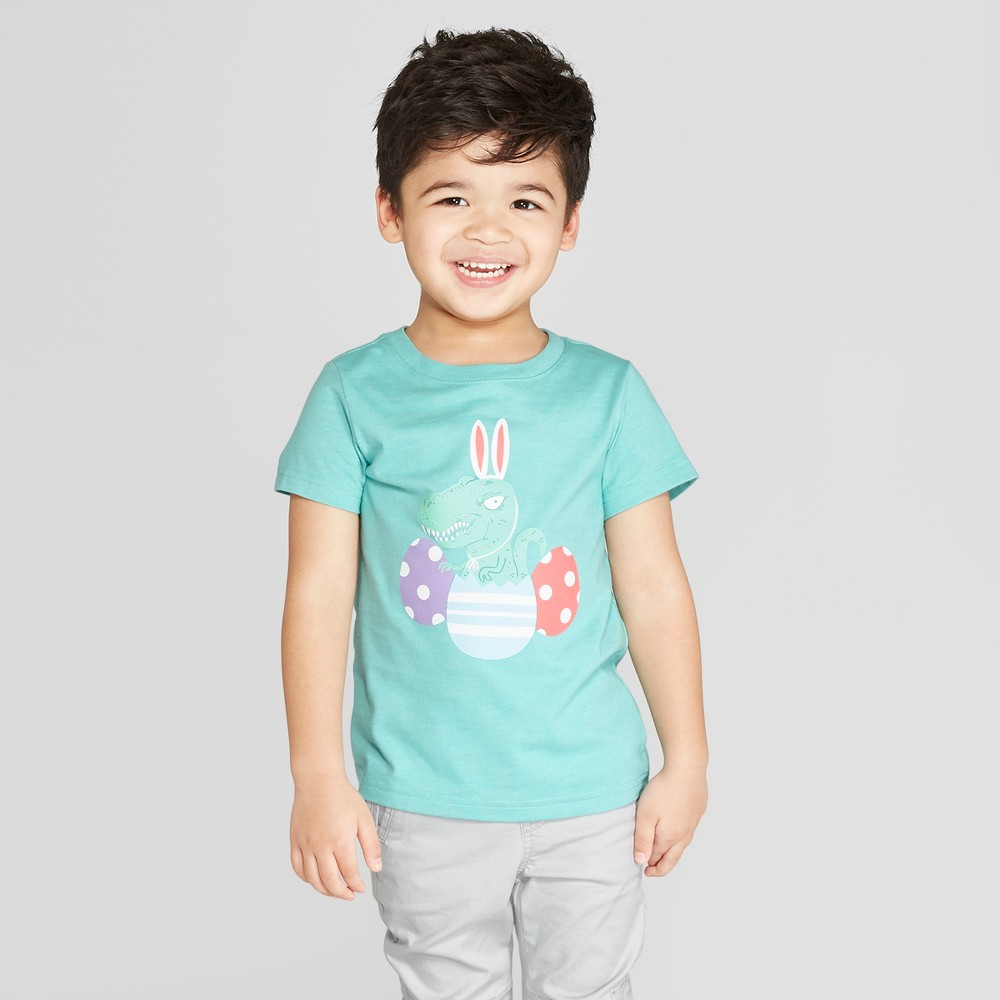 Toddler Boys' Short Sleeve Bunny Ears On Dinosaur T-Shirt - Cat & Jack Aqua 5T, Blue