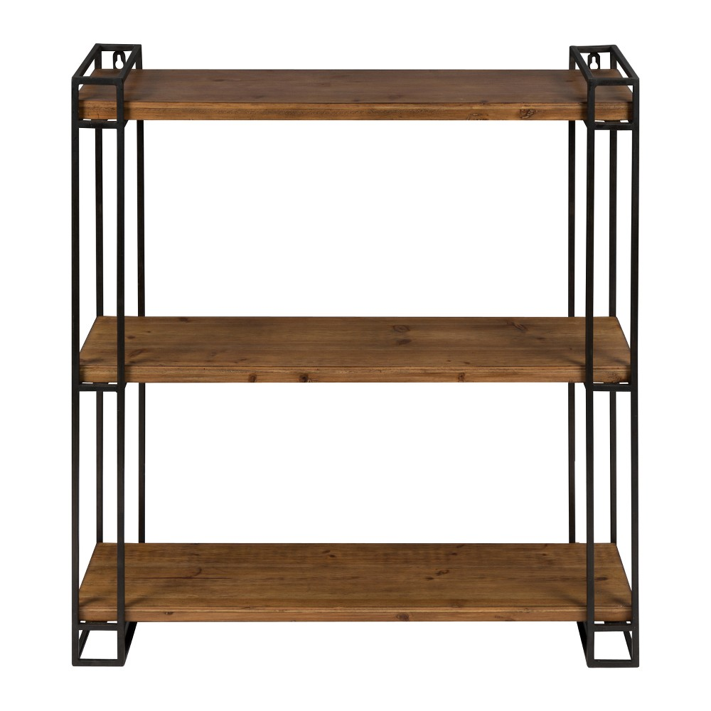 Rustic farmhouse design meets functionality with this floating wall shelving. Constructed of black metal frame with three solid wood shelves, this floating shelving can be used to display your books, photo frames, or knickknacks in your living room or home office. Each shelf measures 26 inches wide by 7 inches deep and there is 12 inches of vertical space between each shelf. The display dimensions of the floating shelves are 26 inches wide by 7.25 inches deep by 30.5 inches high. This decorative wall shelving is versatile, functional, and will be a beautiful accent in any room of the home. Gender: unisex.