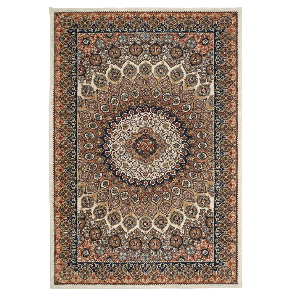 Image of Cream Medallion Woven Area Rug 5'X7' - Karastan, Beige