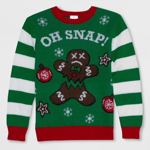well worn boys oh snap gingerbread ugly christmas sweater green