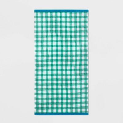 Gingham Beach Towel Green - Sun Squad™