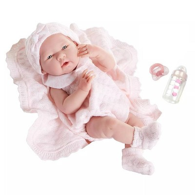 "JC Toys La Newborn 15"" Girl Doll - Pretty in Pink Knit Blanket Set"