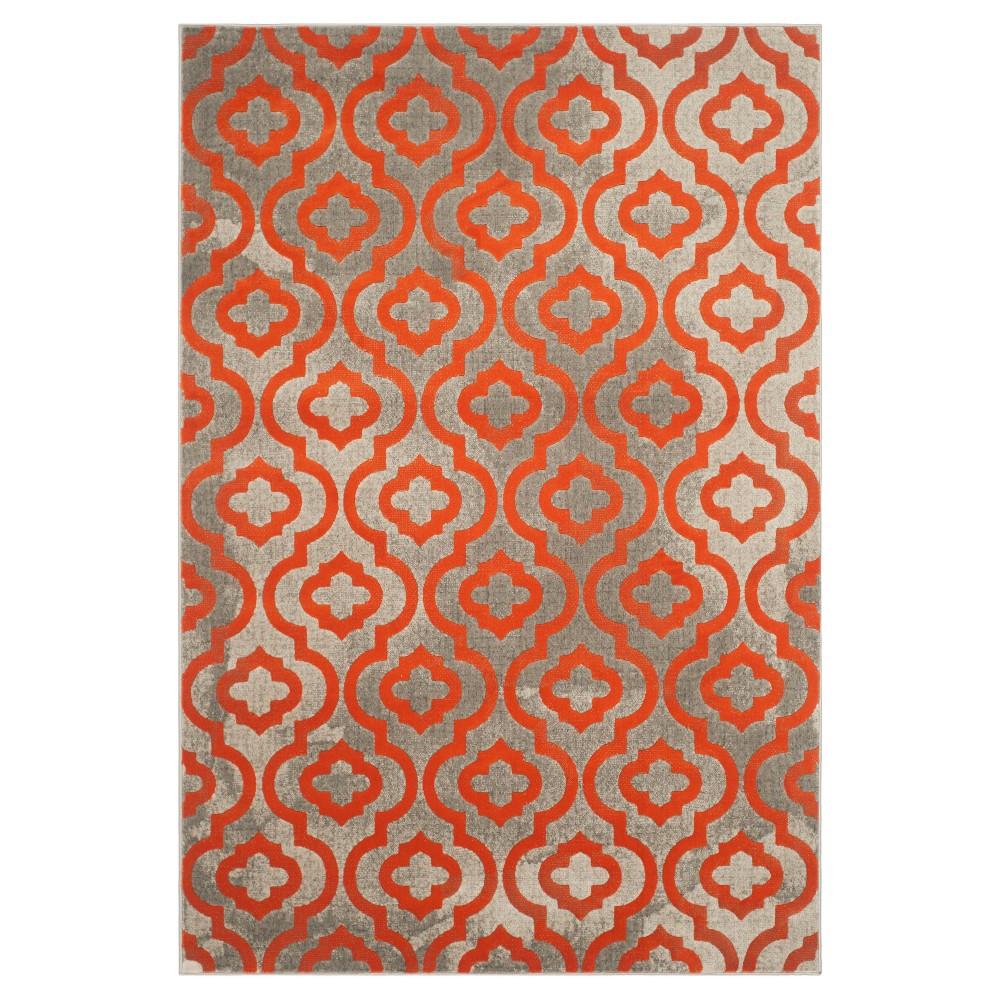 Milo Area Rug - Light Gray / Orange ( 6' X 9' ) - Safavieh, Light Grey/Orange