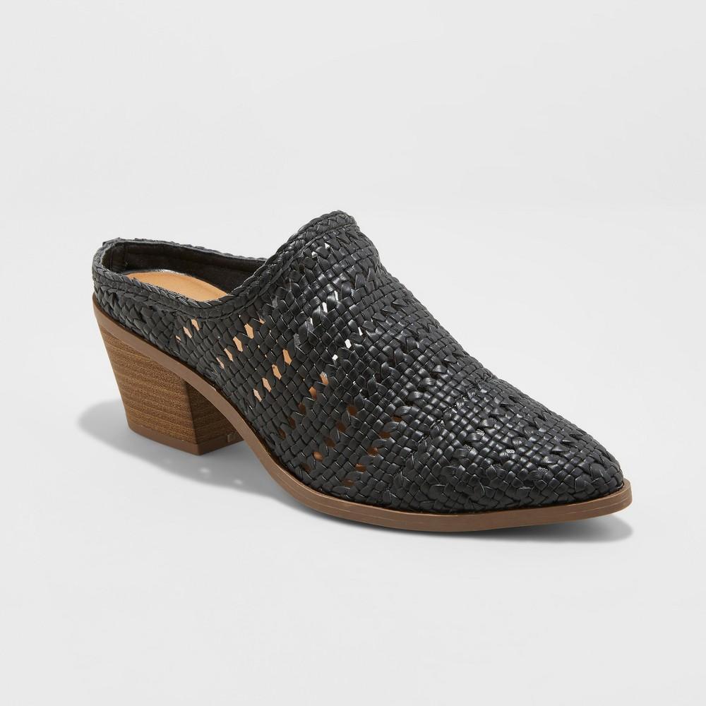 Women's Kallie Woven Heeled Mules - Universal Thread Black 5