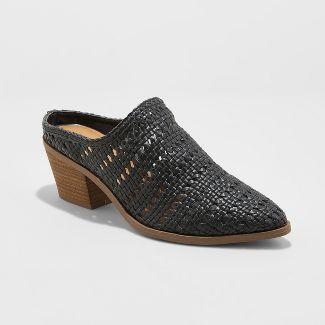 Women's Kallie Woven Heeled Mules - Universal Thread™ Black 9