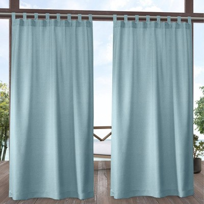 Set of 2 Biscayne Indoor/Outdoor Two-Tone Textured Tab Top Curtain Panel - Exclusive Home