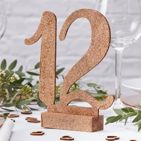 Wooden Table Number Party Decorations Rose Gold - image 1 of 1