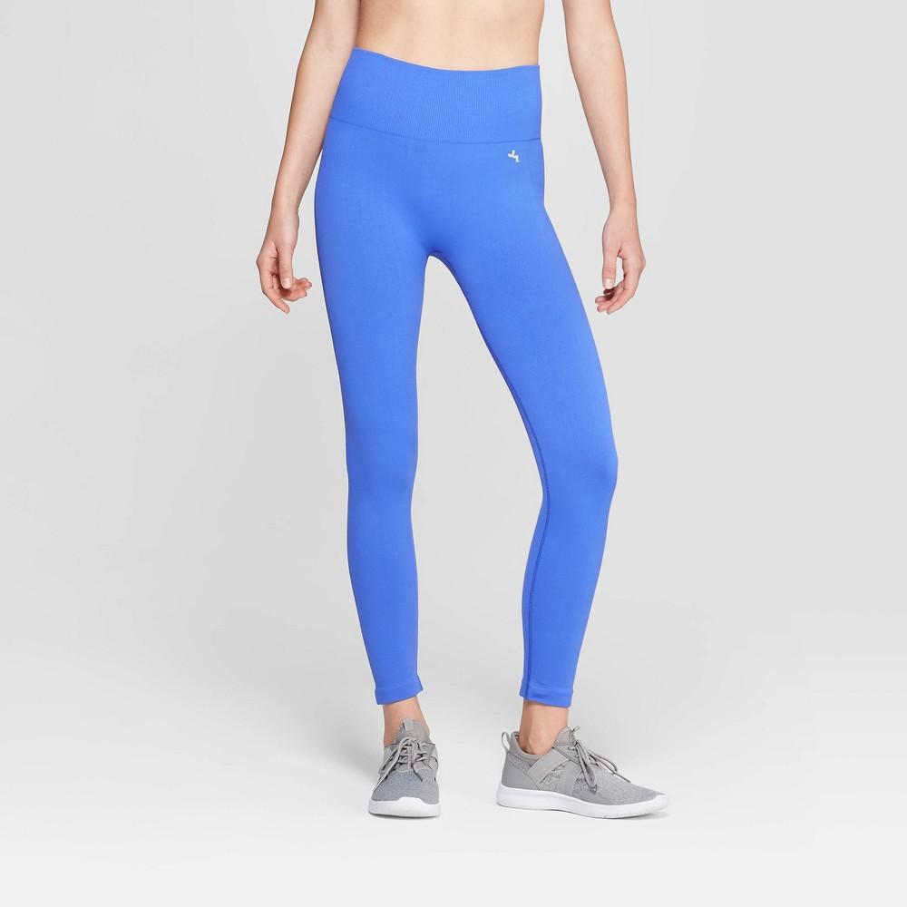 Women's High-Waisted 3/4 Length Seamless Leggings - JoyLab Dazzling Blue XL