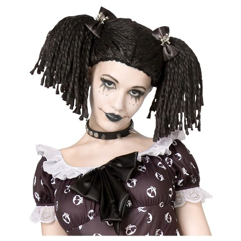 Halloween Gothic Rag Doll Kid's Costume Wig Black - image 1 of 1