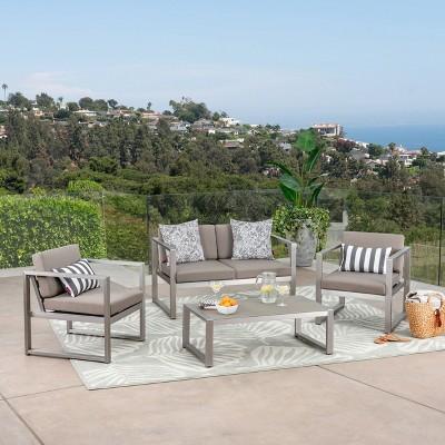 Navan 4pc Aluminum Seating Set Silver/Khaki - Christopher Knight Home