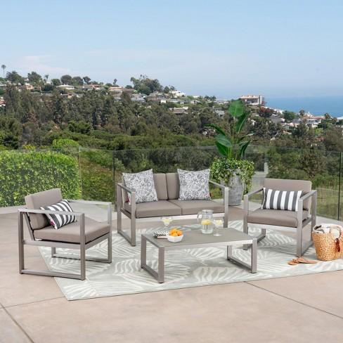Navan 4pc Aluminum Seating Set - Christopher Knight Home - image 1 of 4